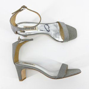 Badgley Mischka Silver Block Heel Sandals Size 8